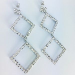 New! Cubic Zirconia Square S925 Silver Earrings